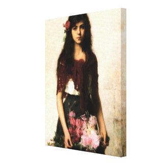 Beautiful Russian Flower Seller Girl Gallery Wrap Canvas