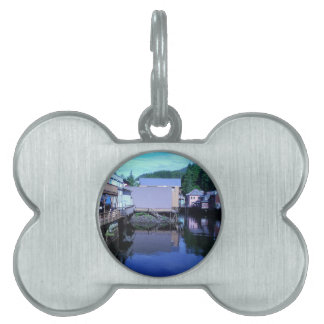 Beautiful Rustic Backview Reflections in Creek Pet ID Tag