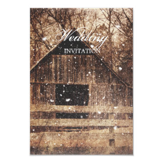 Beautiful  rustic country barn in the snowfall card