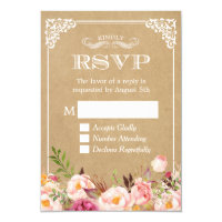 Beautiful Rustic Floral Kraft Elegant Wedding RSVP Card