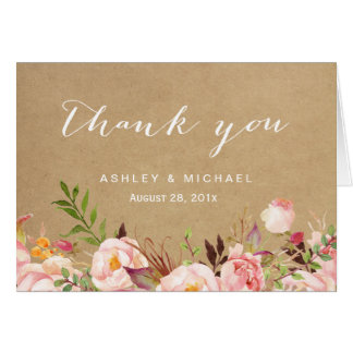 Beautiful Rustic Floral Kraft Thank You