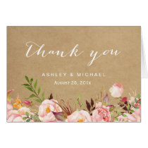 Beautiful Rustic Floral Kraft Thank You Card