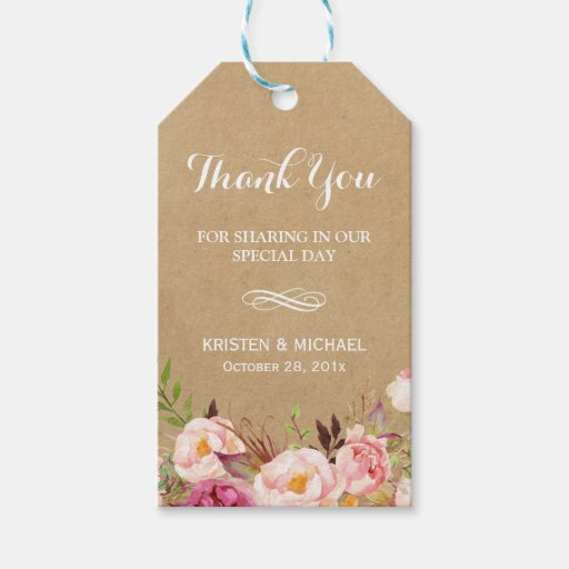 Beautiful Rustic Flowers Kraft Wedding Thank You Gift Tags