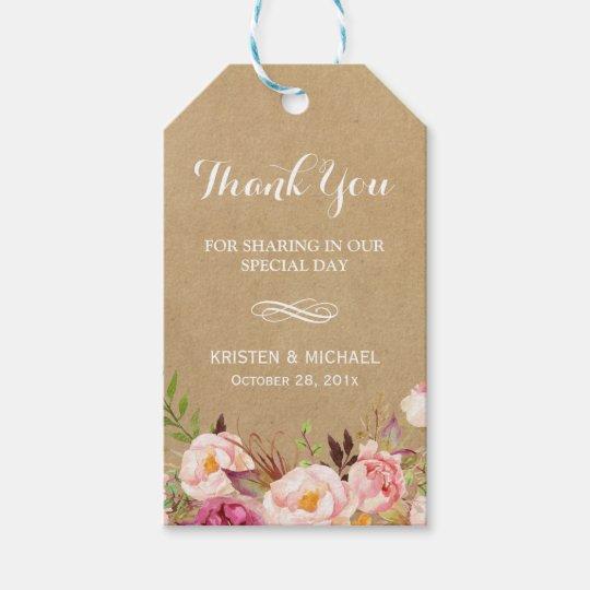 Wedding Thank You Gift Tags: Beautiful Rustic Flowers Kraft