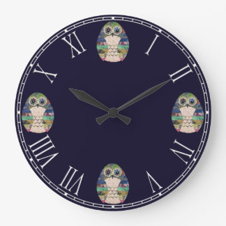 Beautiful Rustic Owl Bird Colorful Retro Large Clock