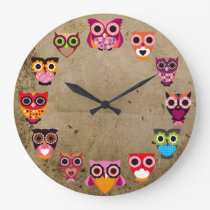 Beautiful Rustic Owls Large Clock