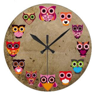 Beautiful Rustic Owls Large Clock