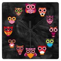 Beautiful Rustic Owls Square Wall Clock