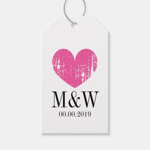 Beautiful rustic pink heart wedding favor gift tag Zazzle