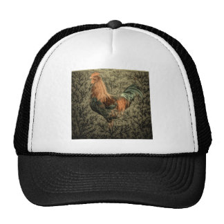 Beautiful rustic rooster design mesh hat