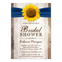 Beautiful Rustic Sunflower Ribbon Bridal Shower Card