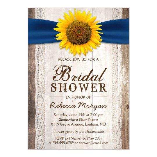 ce106c57702a Beautiful Rustic Sunflower Ribbon Bridal Shower Invitation