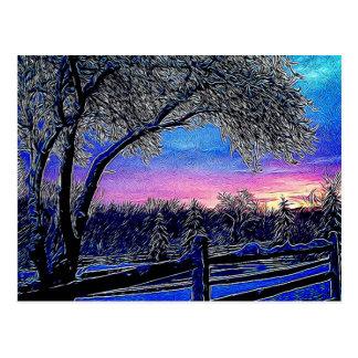 Beautiful rustic winter scene postcard