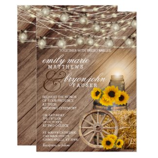 Beautiful Rustic Wood Barrel and Sunflowers Invitation