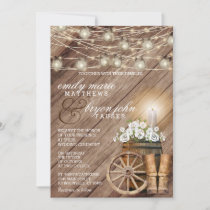 Beautiful Rustic Wood Barrel and White Floral Invitation