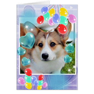 Beautiful Sable Corgi with Hearts Card