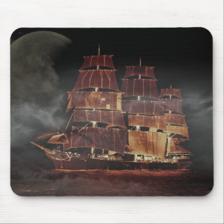 Beautiful sailing ship moon illustration mouse pad