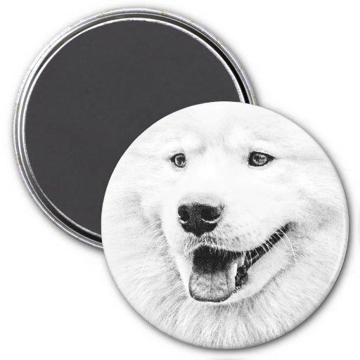 Beautiful Samoyed dog art Fridge Magnets