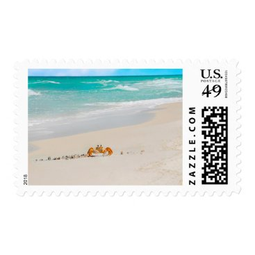 Beach Themed Beautiful Sandy Beach And Crab Postage