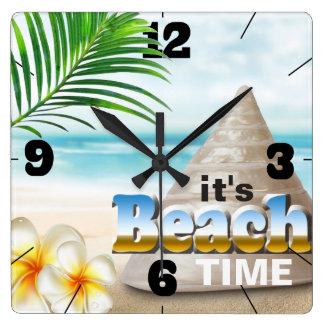 Beautiful Sandy Beach Seashell Square Wall Clock