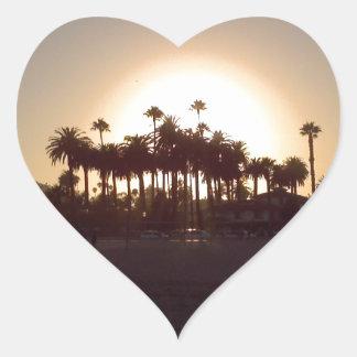 Beautiful Santa Barbara beach sunset Heart Sticker