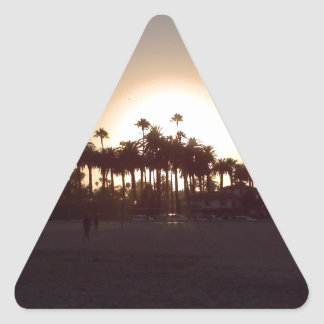 Beautiful Santa Barbara beach sunset Triangle Sticker