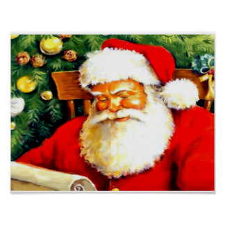 Beautiful Santa Claus checking list poster