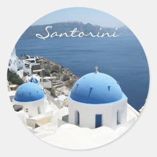 Beautiful Santorini Greece Classic Round Sticker
