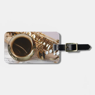 Beautiful saxophone musical instrument luggage tag