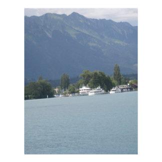 Beautiful scenery at shore of Lake Thun Letterhead