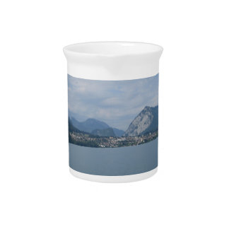 Beautiful scenery in Lake Thun in Switzerland Beverage Pitcher