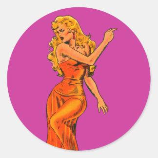 Beautiful Science Fiction Fantasy Girl Classic Round Sticker
