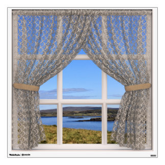 Beautiful Scotland View from a Square Window Wall Sticker