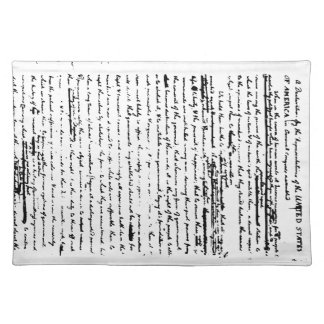 Beautiful script from 1776 draft by Jefferson Placemat