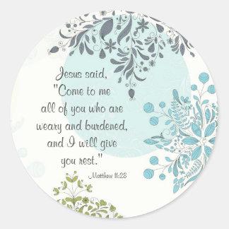 Beautiful Scripture Matthew 11:28 Stickers
