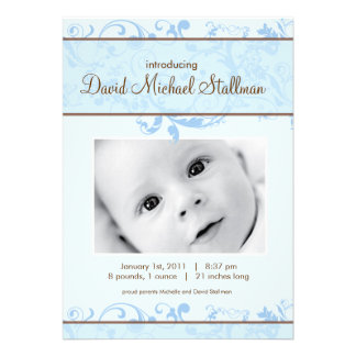 Beautiful Scrolls - Baby Annoucement - Blue Invites
