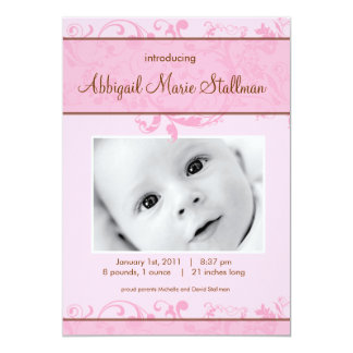Beautiful Scrolls - Baby Annoucement - Pink Card