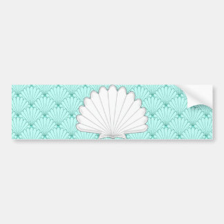 Beautiful Sea Green Scallop Shell Repeating Patter Bumper Sticker