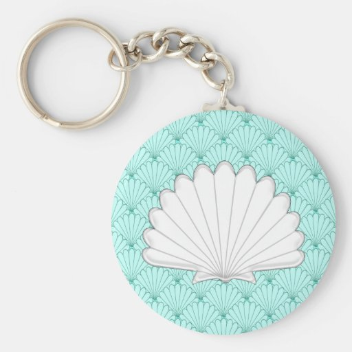 Beautiful Sea Green Scallop Shell Repeating Patter Keychains