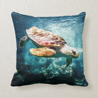 Beautiful Sea Turtle Ocean Underwater Image Throw Pillow