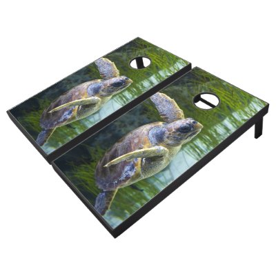 Beautiful Sea Turtle Swimming Cornhole Set
