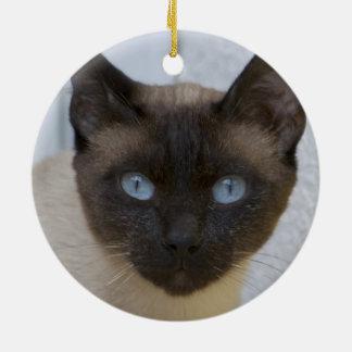 Beautiful Seal Point Siamese Cat Ceramic Ornament