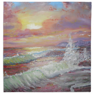 """Beautiful Seascape 18x24"""" canvas oil Printed Napkin"""