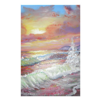"""Beautiful Seascape 18x24"""" canvas oil Personalized Stationery"""