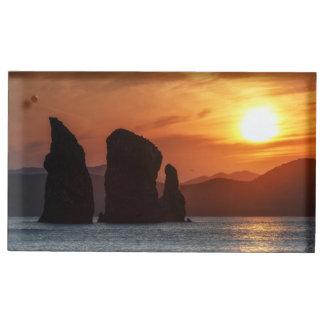 Beautiful seascape: rocky islands at sunset table card holder