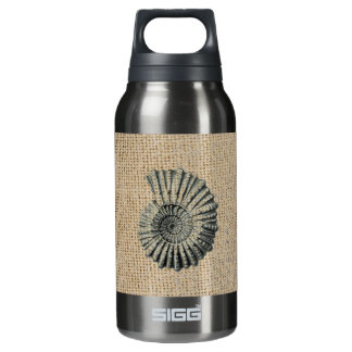 Beautiful seashell design on burlap background insulated water bottle