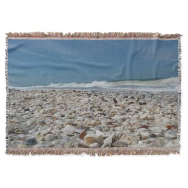 Beach Themed Beautiful Seashells on the Beach Throw Blanket