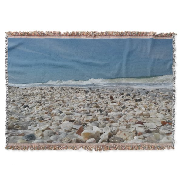 Beautiful Seashells on the Beach Throw Blanket