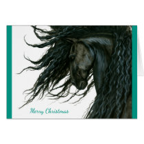 Beautiful Season Greeting Friesian Horse by Bihrle Card