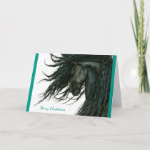 Beautiful Season Greeting Friesian Horse by Bihrle Holiday Card